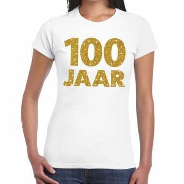 100e verjaardag cadeau t-shirt wit met goud voor dames