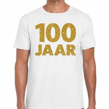 100e verjaardag cadeau t-shirt wit met goud voor heren