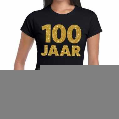 100e verjaardag cadeau t-shirt zwart met goud voor dames