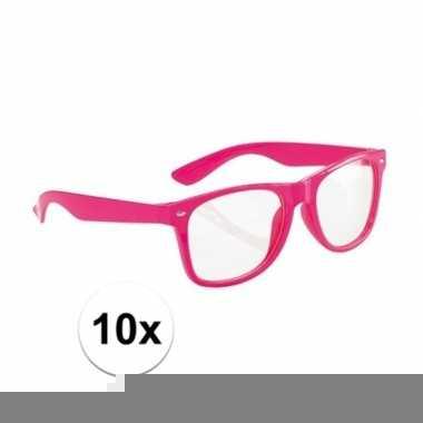 10x party bril neon roze voor volwassenen