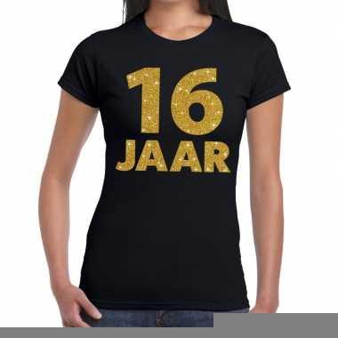 16 jaar fun t-shirt met gouden tekst zwart voor dames