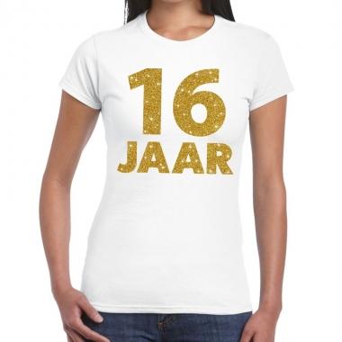 16e verjaardag cadeau t-shirt wit met goud voor dames