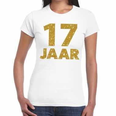 17e verjaardag cadeau t-shirt wit met goud voor dames