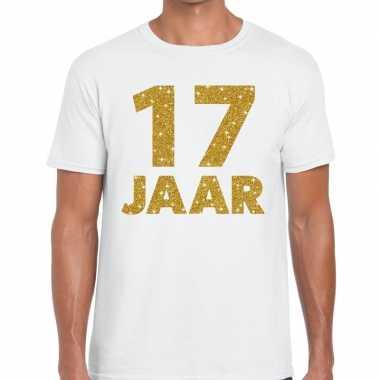 17e verjaardag cadeau t-shirt wit met goud voor heren