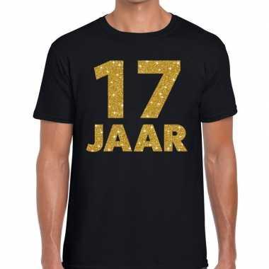 17e verjaardag cadeau t-shirt zwart met goud heren