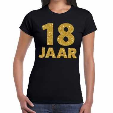 18 jaar fun t-shirt met gouden tekst zwart voor dames