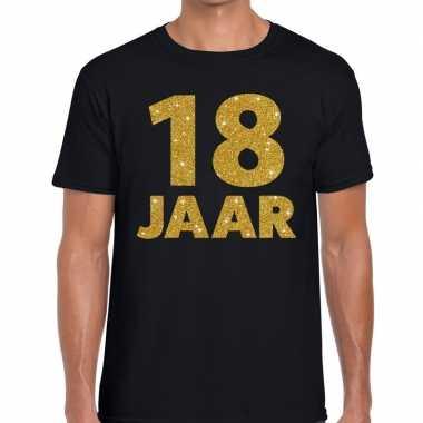18 jaar gouden letters fun t-shirt zwart voor heren