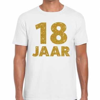 18e verjaardag cadeau t-shirt wit met goud voor heren