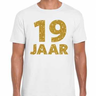 19e verjaardag cadeau t-shirt wit met goud voor heren