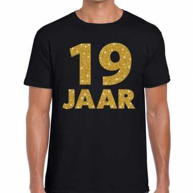 19e verjaardag cadeau t-shirt zwart met goud heren