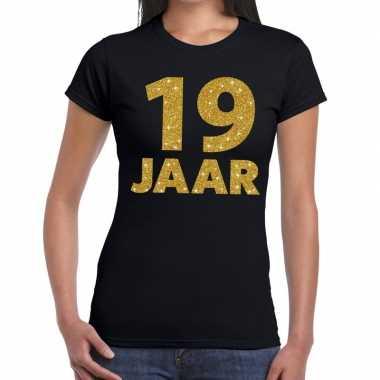 19e verjaardag cadeau t-shirt zwart met goud voor dames