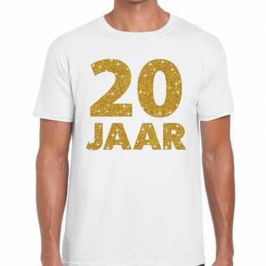 20e verjaardag cadeau t-shirt wit met goud voor heren