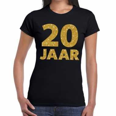 20e verjaardag cadeau t-shirt zwart met goud voor dames
