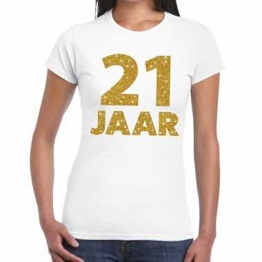 21e verjaardag cadeau t-shirt wit met goud voor dames