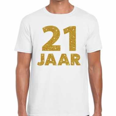 21e verjaardag cadeau t-shirt wit met goud voor heren