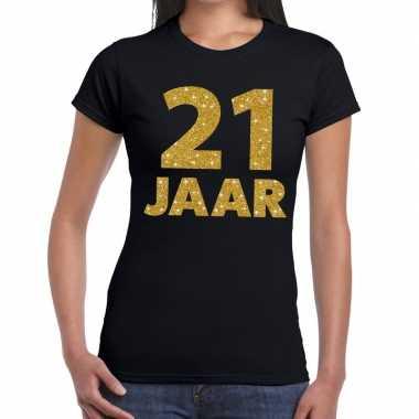 21e verjaardag cadeau t-shirt zwart met goud voor dames