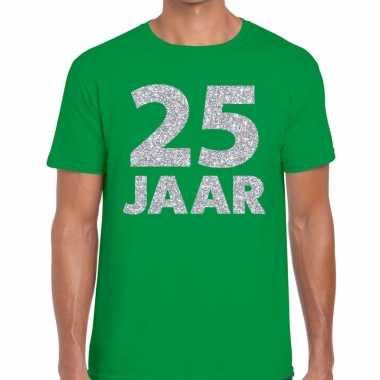 25e verjaardag cadeau shirt groen met zilver voor heren