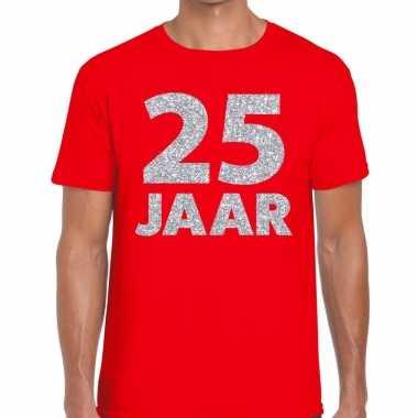 25e verjaardag cadeau shirt rood met zilver voor heren