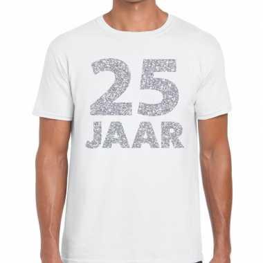 25e verjaardag cadeau shirt wit met zilver voor heren