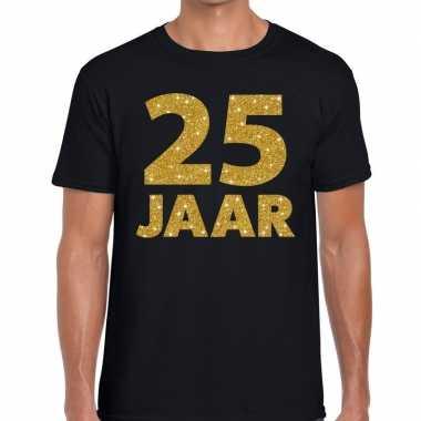 25e verjaardag cadeau shirt zwart met goud voor heren