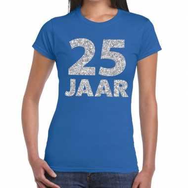 25e verjaardag cadeau t-shirt blauw met zilver voor dames