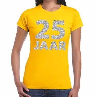 25e verjaardag cadeau t-shirt geel met zilver voor dames