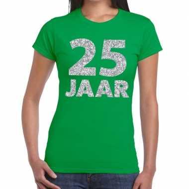 25e verjaardag cadeau t-shirt groen met zilver voor dames