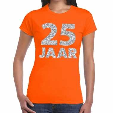 25e verjaardag cadeau t-shirt oranje met zilver voor dames