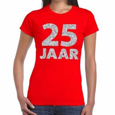 25e verjaardag cadeau t-shirt rood met zilver voor dames