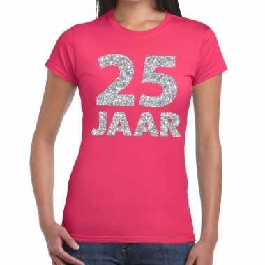 25e verjaardag cadeau t-shirt roze met zilver voor dames