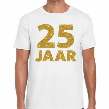 25e verjaardag cadeau t-shirt wit met goud voor heren