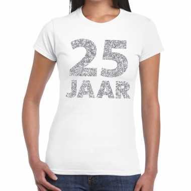 25e verjaardag cadeau t-shirt wit met zilver voor dames