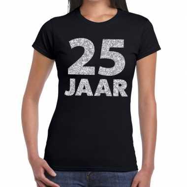 25e verjaardag cadeau t-shirt zwart met zilver voor dames