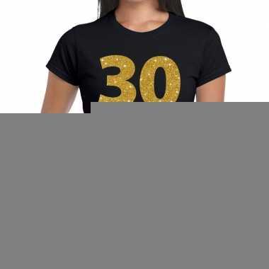 30 jaar fun t-shirt met gouden tekst zwart voor dames