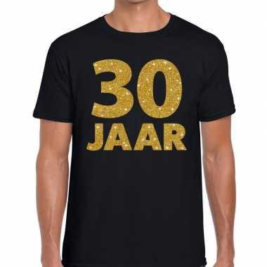 30 jaar gouden letters fun t-shirt zwart voor heren