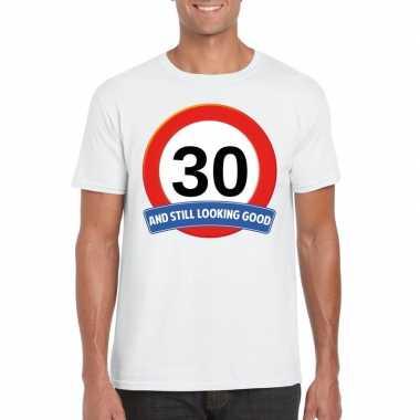 30 jaar verkeersbord t-shirt wit volwassenen