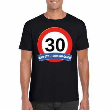 30 jaar verkeersbord t-shirt zwart volwassenen