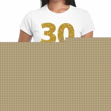 30e verjaardag cadeau t-shirt wit met goud voor dames
