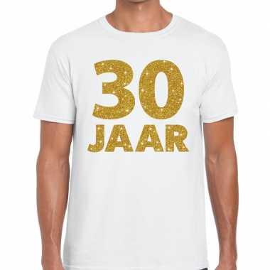 30e verjaardag cadeau t-shirt wit met goud voor heren