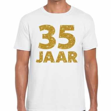 35e verjaardag cadeau t-shirt wit met goud voor heren