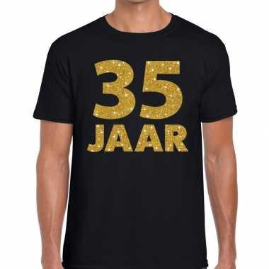 35e verjaardag cadeau t-shirt zwart met goud heren