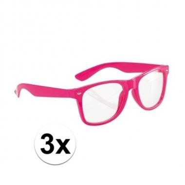 3x party bril neon roze voor volwassenen