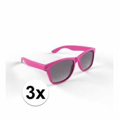 3x trendy zonnebrillen roze voor volwassenen