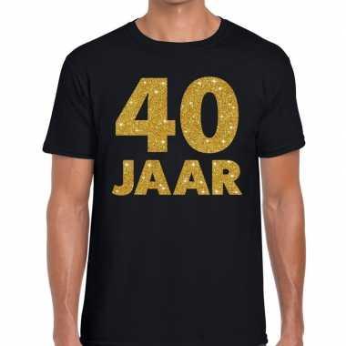 40 jaar gouden letters fun t-shirt zwart voor heren