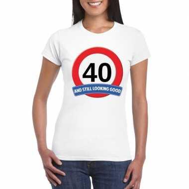 40 jaar verkeersbord t-shirt wit dames