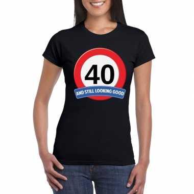 40 jaar verkeersbord t-shirt zwart dames