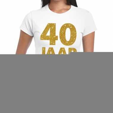 40e verjaardag cadeau t-shirt wit met goud voor dames