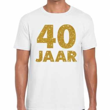 40e verjaardag cadeau t-shirt wit met goud voor heren