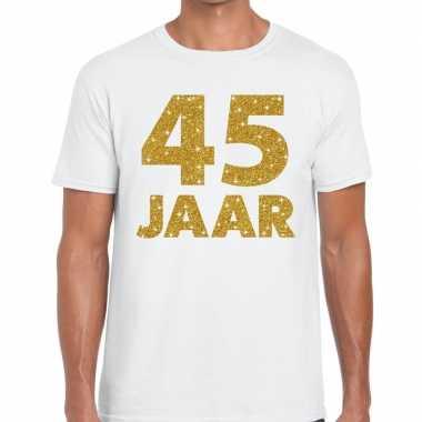 45e verjaardag cadeau t-shirt wit met goud voor heren