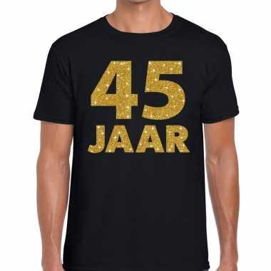 45e verjaardag cadeau t-shirt zwart met goud heren